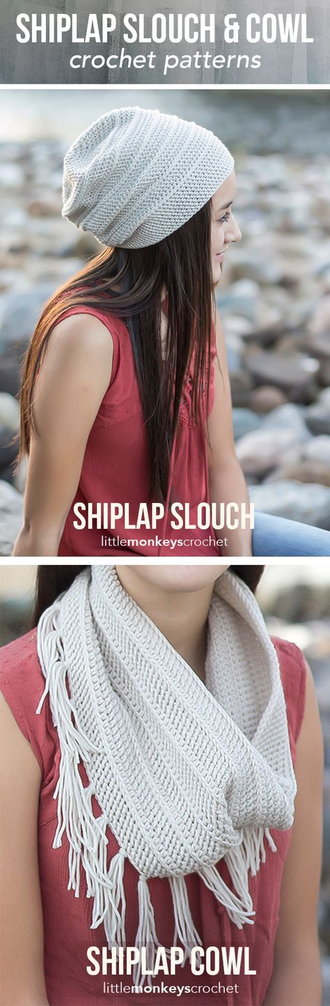 Shiplap Slouch Hat & Cowl Crochet Pattern | Free teen / adult slouchy hat and cowl scarf crochet pattern by Little Monkeys Crochet