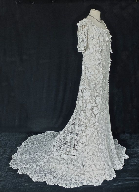 242 best crochet wedding dresses images on pinterest crochet irish crochet wedding dress circa 1905 by pennieslondon on etsy junglespirit Image collections