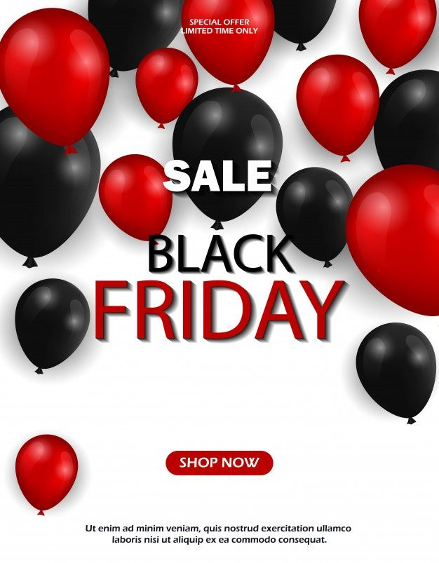 Black Friday Sale Banner With Balloons Black Friday Sale Banner Black Friday Banner Sale Banner