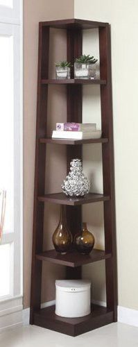 Walnut Finish Wood Wall Corner 5 Tiers Shelves Bookshelf Case