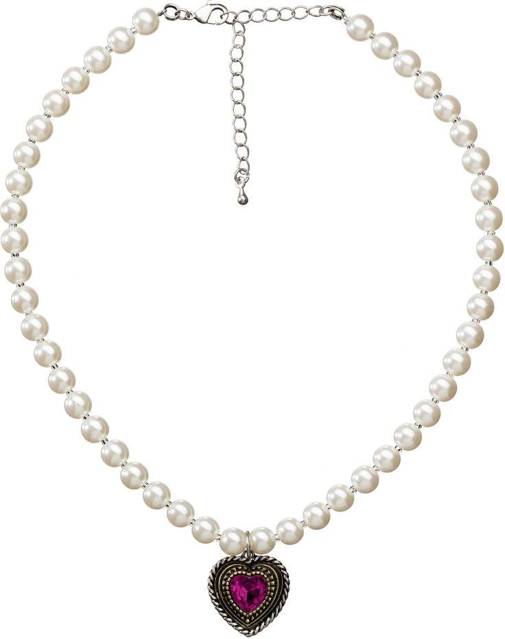 """Die elegante Trachtenkette """"Herzkette"""" in Weiß-Pink ist eine Perlenkette mit Herzanhänger von Lusanna! Bestellen Sie Ihre Herzkette günstig online!"""