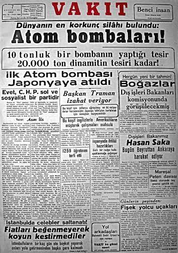 (7 Ağustos 1945) ''Dünyanın en korkunç silahı bulundu: Atom Bombaları!'' (VAKIT Gazetesi) #UnutulmuşManşetler #istanlook