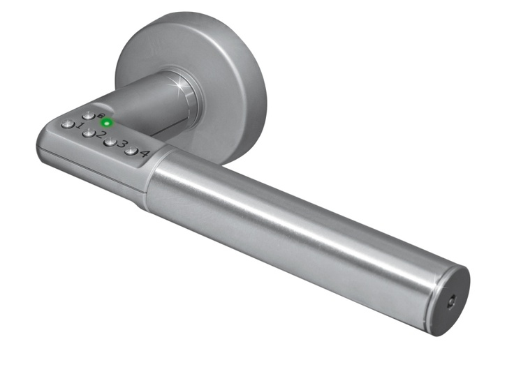 Could work great for med rooms or lab spaces I our healthcare projects.  Vitalia Code Handle - Assa Abloy