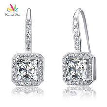 Paon Étoiles Balancent Nuptiale De Mariage de Demoiselle D'honneur Boucles D'oreilles Créé Diamant Massif 925 Sterling Bijoux En Argent CFE8047(Hong Kong)