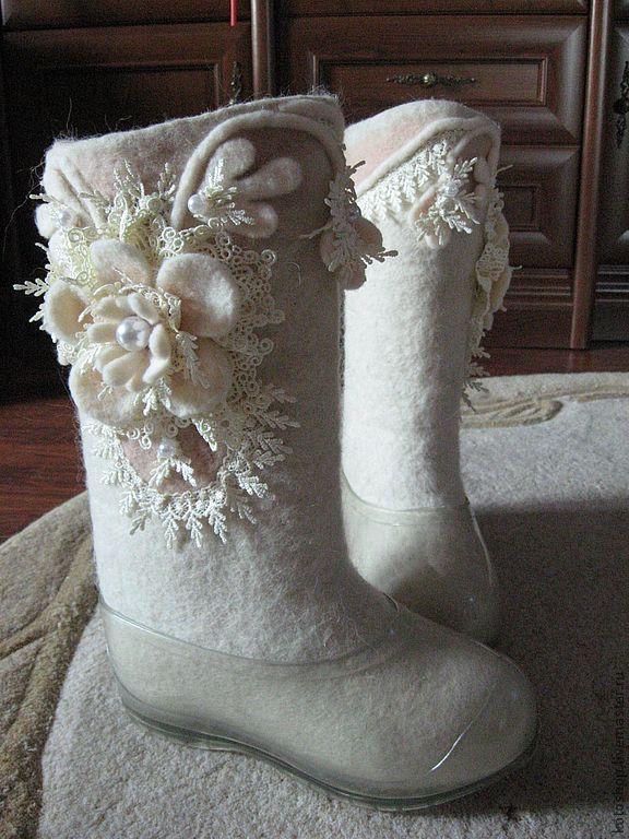 """Обувь ручной работы. Ярмарка Мастеров - ручная работа Валенки """"Свадебные"""". Handmade."""