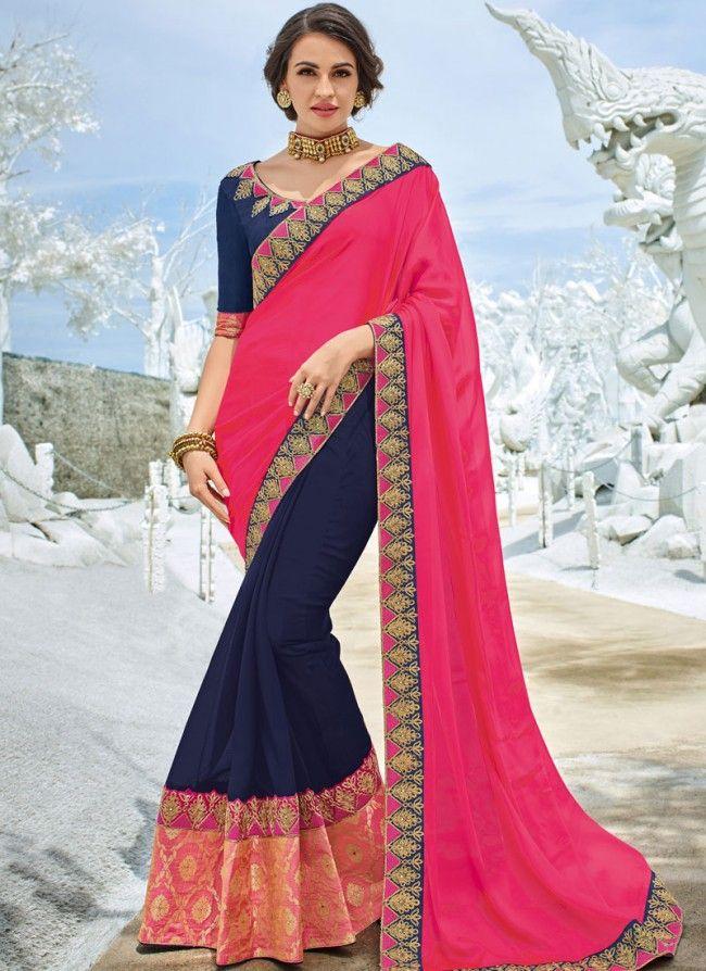 f9935f8b0a7a Buy Pink and Navy Blue Half N Half Saree Online