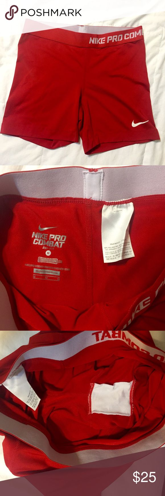"""Red 5"""" Nike Pro Combat Shorts I believe they're 5"""", because they're longer than the 2.5"""" combat shorts I own. Bought on here, great condition. Nike Shorts"""
