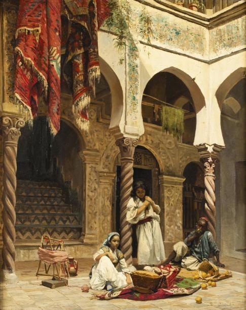 Léon GIRARDET (1857-1895) Cour de la maison mauresque Huile sur toile, signée en bas à droite. 75 x 60 cm - Gros & Delettrez - 16/06/2014
