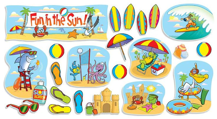 Fun In The Sun Bulletin Board Set $12 for 55 pieces. I think this website also has the surfboard cut-outs. We could order all at once.