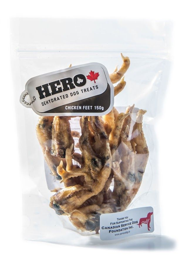 Chicken Feet – 150gr  11.49 HeroDogTreats™ Chicken Feet Are Our Best Seller, This is a Treat Your HERO Will Definitely Love You For. These crunchy Chicken Feet are a 100% Natural Snack Packed with Glucosamine & Chondroitin.