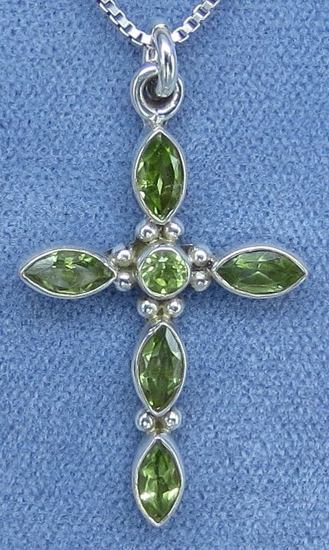 Natural Peridot Small Cross Necklace Sterling Silver
