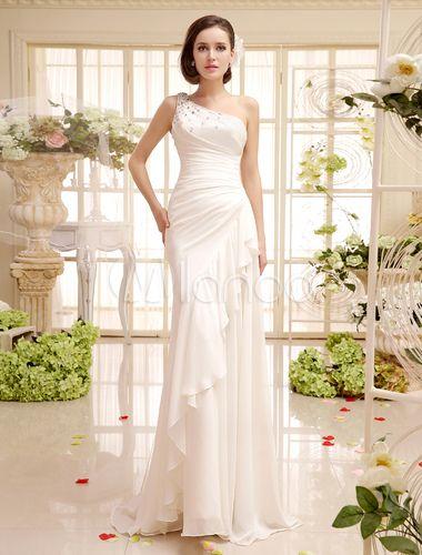Vestido de novia de chifón con escote a un solo hombro y volantes - Milanoo.com