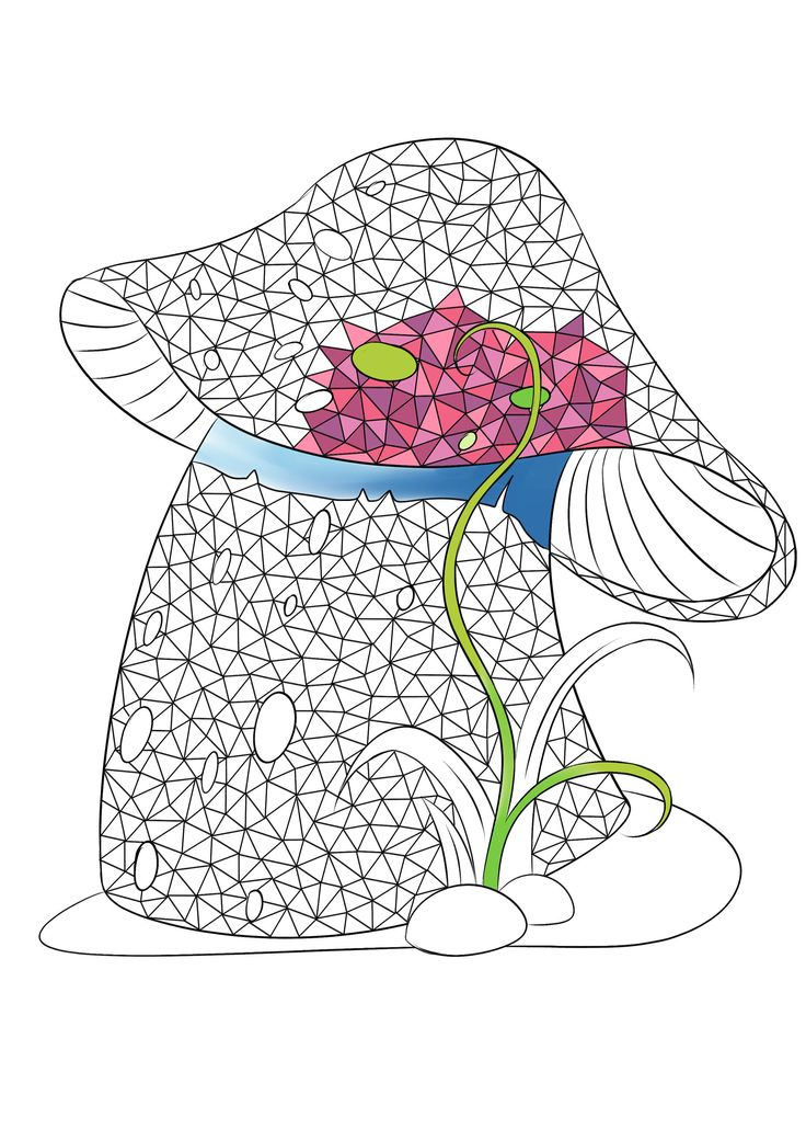 adult coloring page mushroom coloring page fall coloring for adult polygonal geometric - Geometric Coloring Book