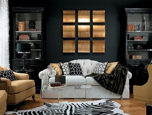 Too Manish With The Black Wall. But I Am Wondering If A Dark Graphic Pillow  Is The Ticket. Modern Living Room Design With Dark Wall Scheme