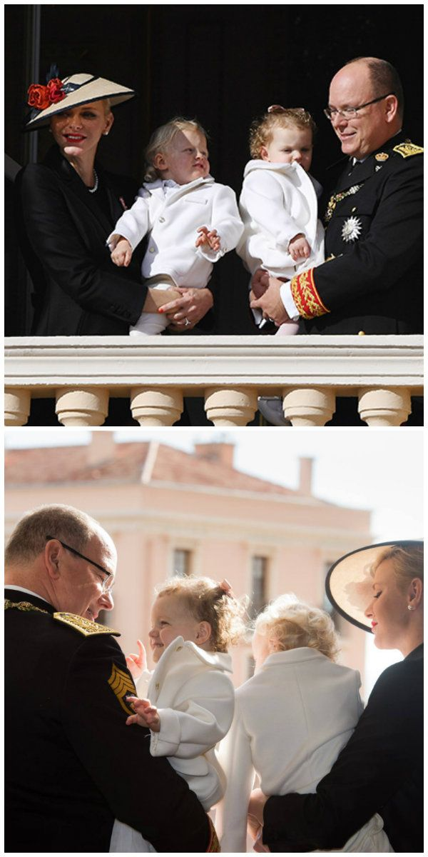 MONACO - NOVEMBER 19: Princess Charlene of Monaco and Prince Albert II of Monaco greet the crowd from the palace's balcony with their children Princess Gabriella of Monaco and Prince Jacques of Monaco during the Monaco National Day Celebrations on November 19, 2016 in Monaco, Monaco