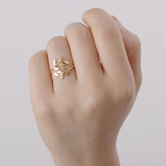 Verstellbar Blatt Ring, Gold, blatt ring von Super…