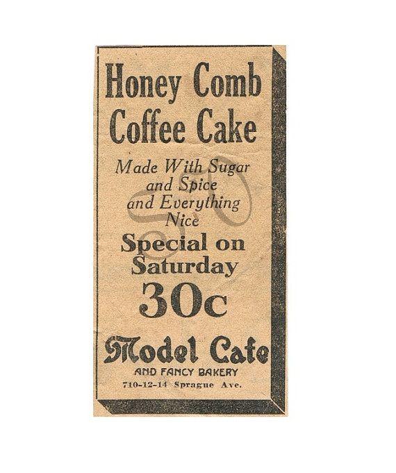 Honey Comb Cake Authentic Antique Newspaper Ad by SeamsVictorian, $1.00