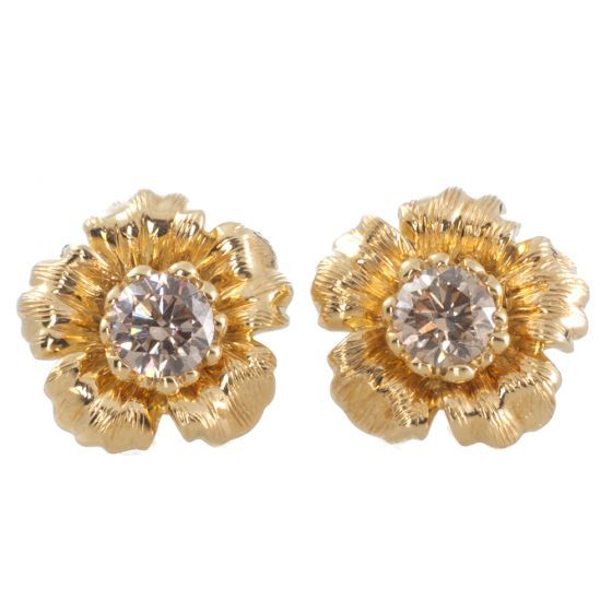 Two-in-One Diamond Gold Floral Studs. View our collection of antique, Art Deco, and modern jewellery at www.rutherford.com.au