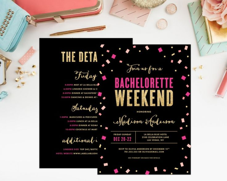 hot pink and black bachelorette party invitation by fine and dandy paperie   fun bachelorette party ideas   http://emmalinebride.com/planning/fun-bachelorette-party-ideas/
