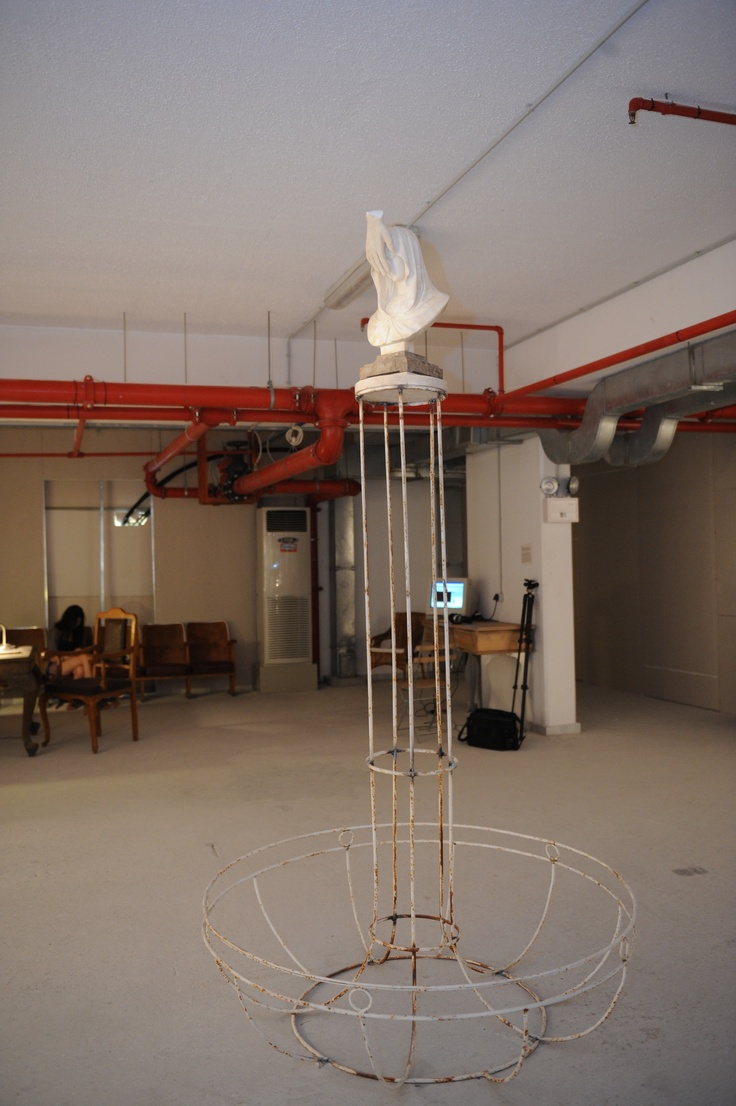 """Savvas Christodoulides The blushing Virgin, 2009 marble, iron 140 x 300 x 140 cm Courtesy: AD Gallery, Athens Installation view, 2nd Athens Biennale 2009 """"Heaven"""""""