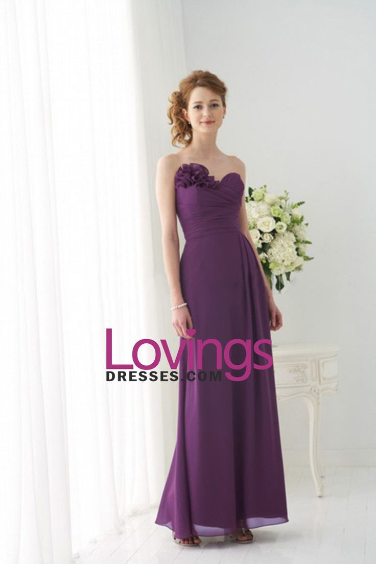 Sweetheart A Line Floor Length Dress With Handmade Flower Embellished Neckline US$ 96.99 LDPBQLBX8B - lovingsdresses.com for mobile