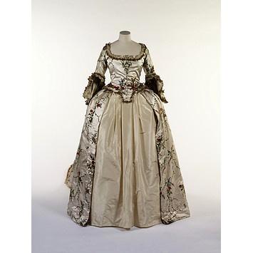 V&A; Mantua 1775-1785. T.13-1952: 1775 1785 British, 17751785, British Mantua, Fashion 1700S, Mantua 1775 1785, Silk Satin, 18Th Century, Hands Sewn, 1700 S