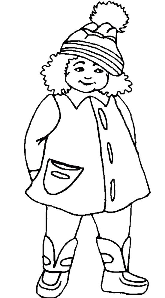 The Girl Using Winter Coat Coloring Pages