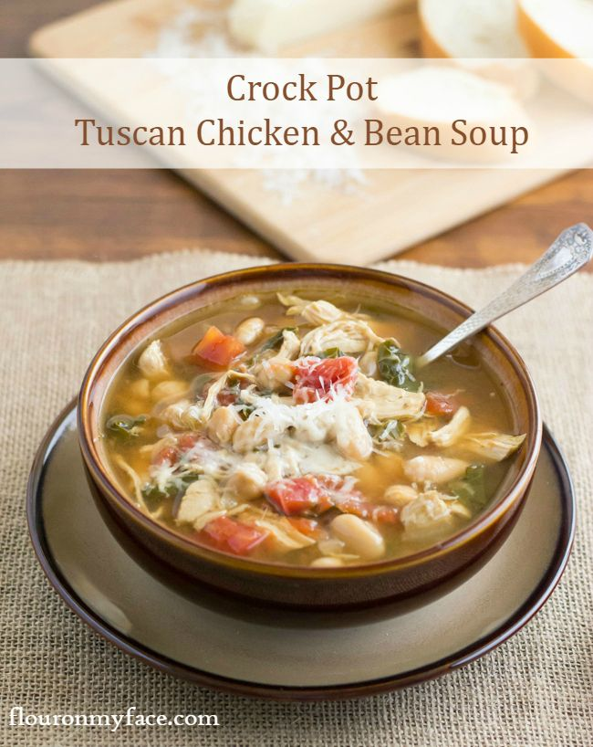 Crock Pot Tuscan Chicken Bean Soup has all the delicious flavors of a healthy Mediterranean Diet soup recipe.