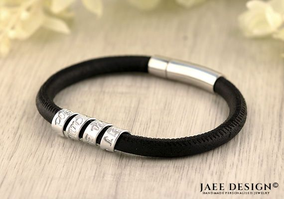 Girlfriend Leather Personalized Bracelet gift Custom jewelry Hand Stamped Secret message Spiral Scroll Birthday Anniversary Friendship gift by Jaeedesign on Etsy https://www.etsy.com/listing/508620654/girlfriend-leather-personalized-bracelet