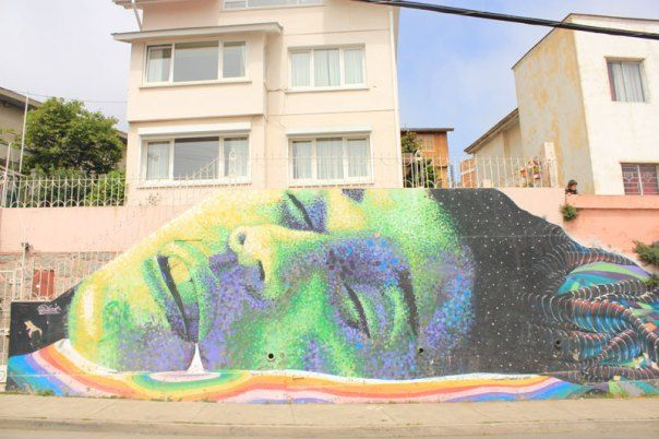 #Impulseearth #Valparaiso #Chile #Graffiti #Street Art #Face #Painting #Creativity #Green #Medusa #Dots #Art #Lying Woman