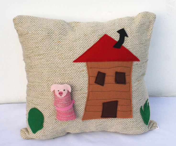 house and pig handwoven pillow toy by ERGANIweaving on Etsy