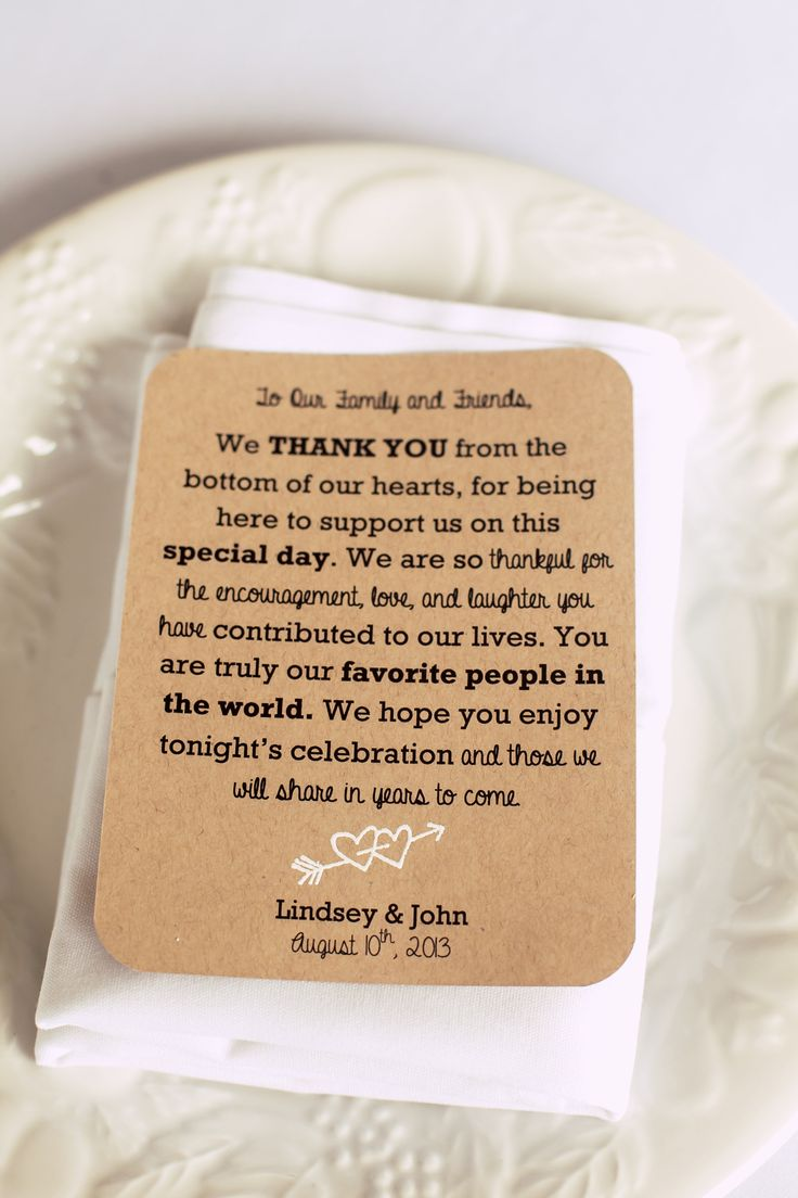 What a touching way to personally thank each weddingguest for being there to celebrate in your weddingday!