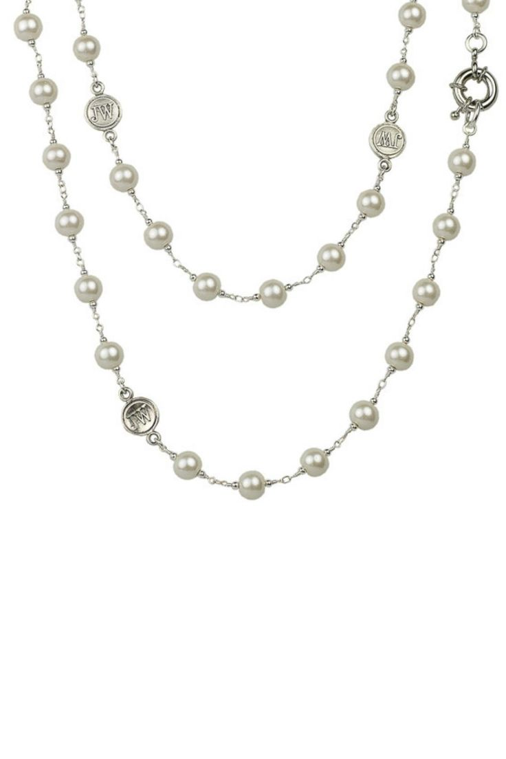 "In honor of our 30th Anniversary, we are bringing back one of our most iconic styles. This 64"" necklace features rosary beaded glass pearls interspersed with John Wind coins. Where this style wrapped once, twice or three times around the neck. It's a John Wind classic, a gotta have it style!    64"" overall   30th Anniversary Necklace by John Wind Maximal Art. Accessories - Jewelry - Necklaces Pennsylvania"