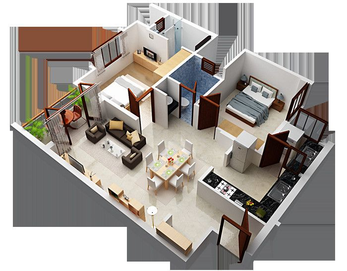 House Plans With Attached Guest House Desain Rumah Rumah Denah Lantai
