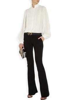 Pleated silk-chiffon blouse by Oscar de la Renta