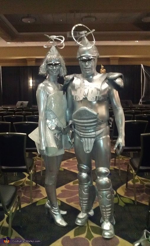 Barry: Bonnie and Barry VanDreason metalic zentai suit old boots old sports gear silver metalic paint metalic silver spray paint hats- head peice, glue, outeredge pie plate and wire, plastic martini...