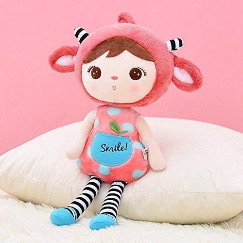 Me Too JIBAO Stuffed Red Sheep Girl Baby Dolls Plush Toys 16 Inches