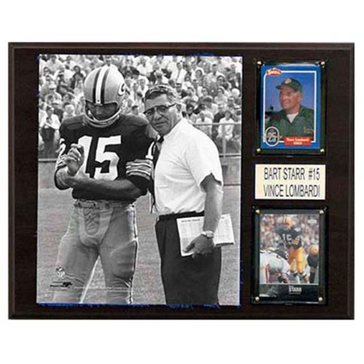 C and I Collectables NFL 15W x 12H in. Bart Starr and Vince Lombardi Green Bay Packers Player Plaque - 1215STARRLOMCOM