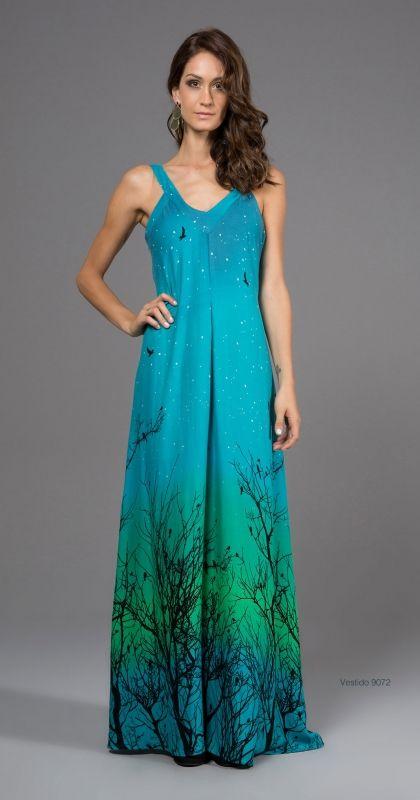 Need this asap. gorgeous aqua tree print maxi dress.