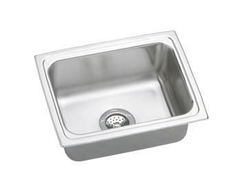 "LFR2519 25"" Top Mount Self-Rim Single Bowl 18-Gauge Stainless Steel Sink With U-Channel Type Mounting System"