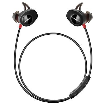 Bose®️️ SoundSport™️ Pulse Sweat & Weather-Resistant Wireless In-Ear Headphones with Heart Rate Sensor, Bluetooth/NFC, 3-Button In-Line Remote & Carry Case, Red/Black