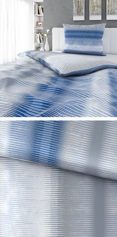 Hellblaue Bettwäsche Mit Dunklen Streifen 140x200 Bettwäsche