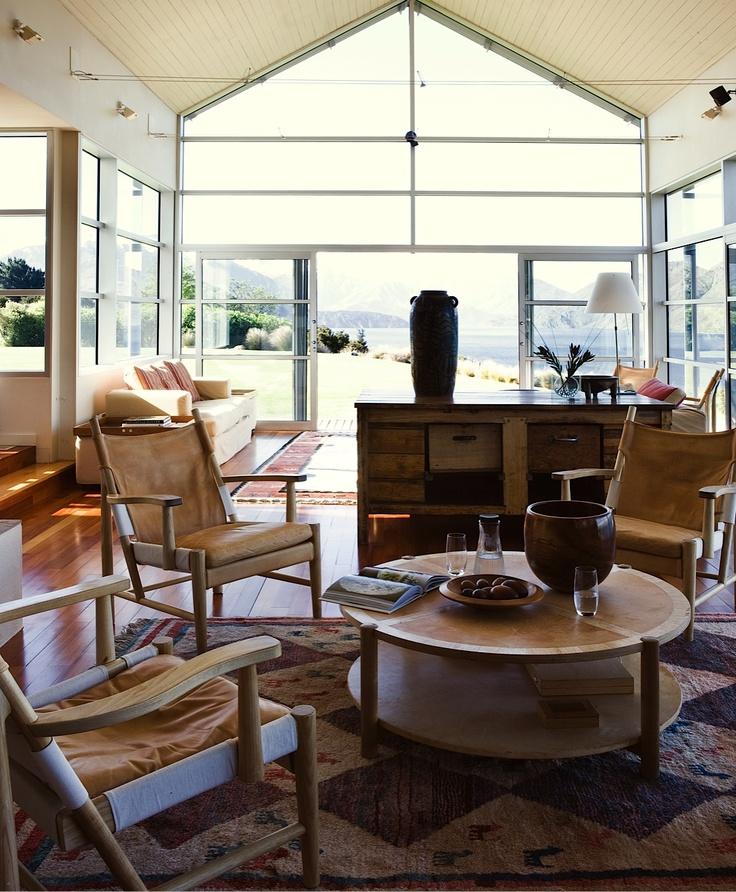 Whare Kea Lodge lounge area.  Luxury lodge, Lake Wanaka, New Zealand  Photo by Kieran Scott