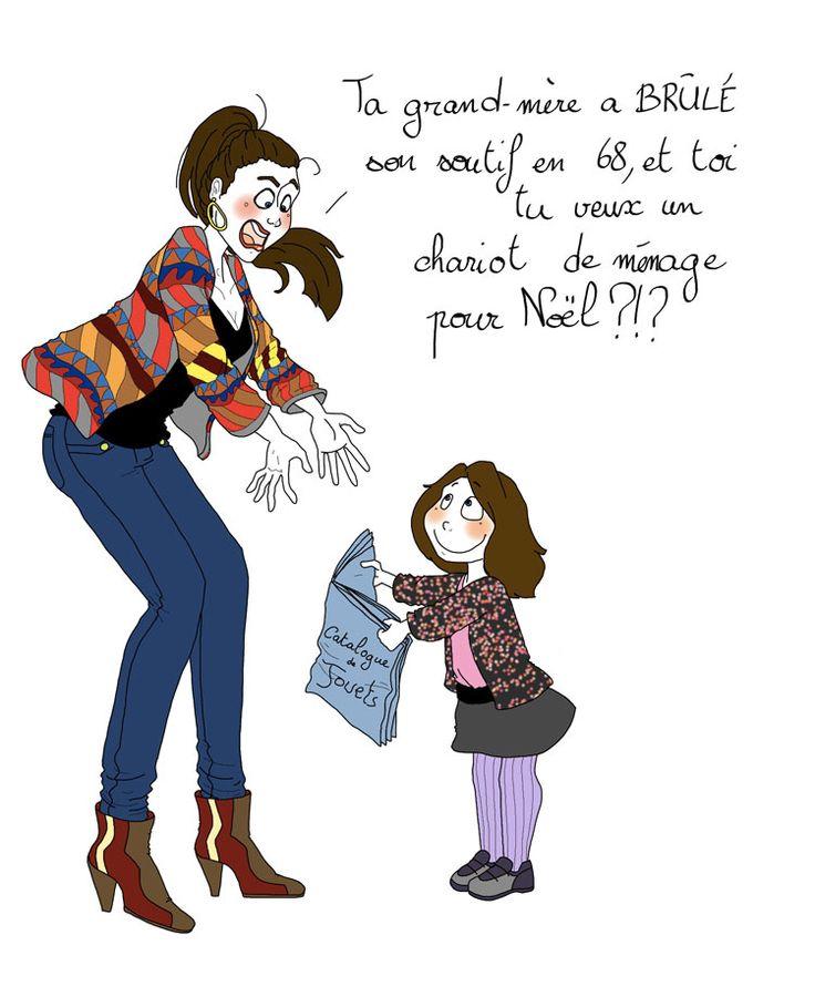 Sache que même si tu fais tout pour que ta fille devienne, un jour, une femme libre et affranchie des clichés qui plombent son espèce, il est fort possible qu'elle te demande... La suite ici : http://drolesdemums.com/illustration-humour-marie-crayon/chariot-menage-pas-tu-seras-femme-fille