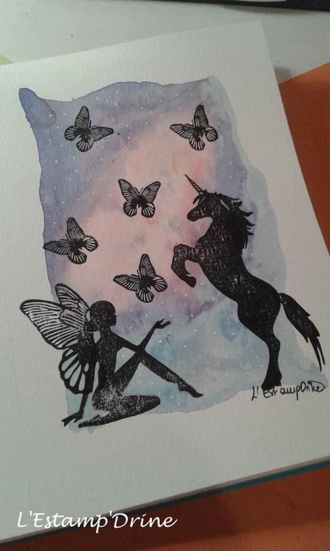 Défi gravure 2018 (1/6): carte aquarelle fée et licorne par l'Estampdrine
