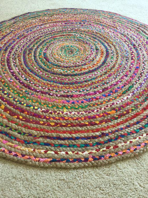 Round Jute Rug 8 Feet, Boho Chic Hippie Area Rug, Vegan Colorful Jute Cotton