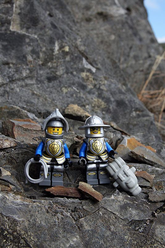 Extra Protection: Owing to the dangerous profusion of loose rock at Llyn Brianne, Lego Dan and Dot have decided to supplement their usual complement of nuts and cams with some unorthodox extra protection.