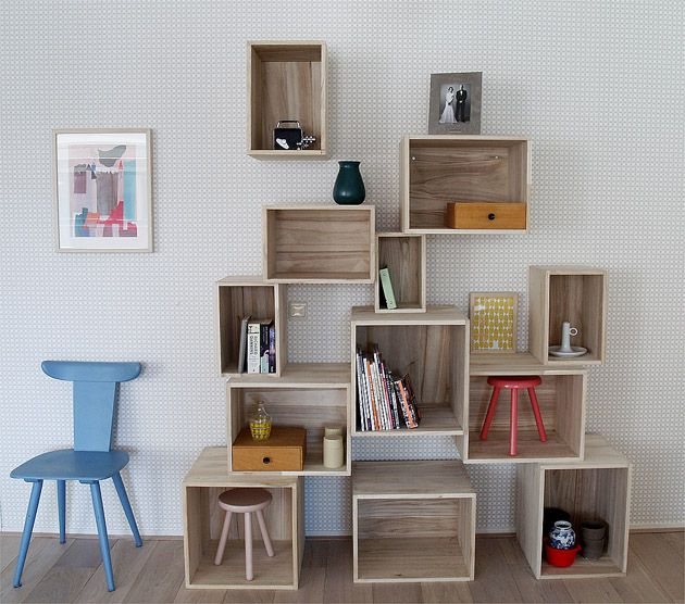 Box Shelves, can use crates from Michaels & paint them, alternate them & wa la, it's awesome for any room depending on what color u spray paint them, colorful or black, white, sky's the limit.