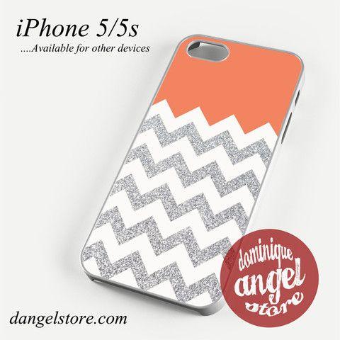 Orange Silver Glitter Chevron Phone case for iPhone 4/4s/5/5c/5s/6/6 plus
