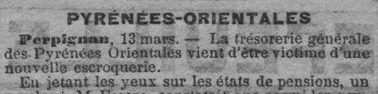 Escroquerie à la pension militaire en 1902 à Perpignan